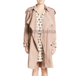 Newly Design Suede Leather Trench Coat