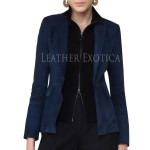 Women Suede Leather Blazer