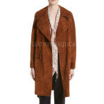 Suede Leather Trench Coat For  Women
