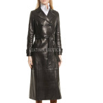 Long Length Leather Trench Coat For Women