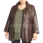 Plus Size Women Leather Coat