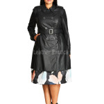 Women Leather Trench Coat