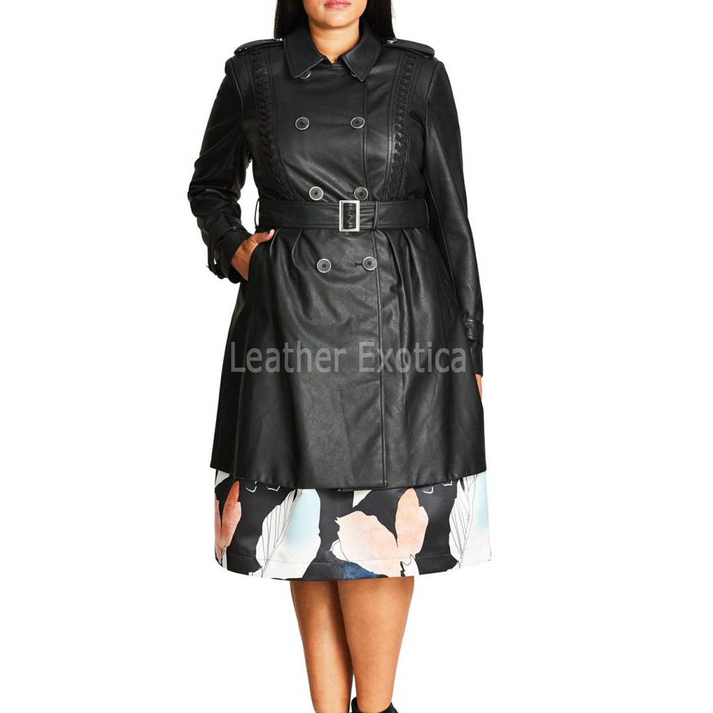 new high quality clear-cut texture top-rated original Women Leather Trench Coat