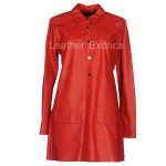 Shirt Style Red Leather Dress