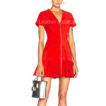 Ruffled Hem Suede Red Leather Dress