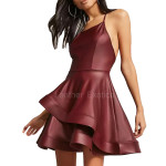 Tiered Skirt Dark Red Leather Dress