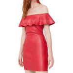 Ruffled Off-Shoulder Red Leather Dress