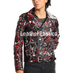 Multicolor Spray Print Leather Jacket