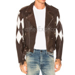 Color Block Lambskin Motto Leather Jacket