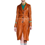 Classic Style Leather Trench Coat