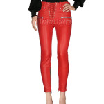 Lace Front Closure Women Leather Pant