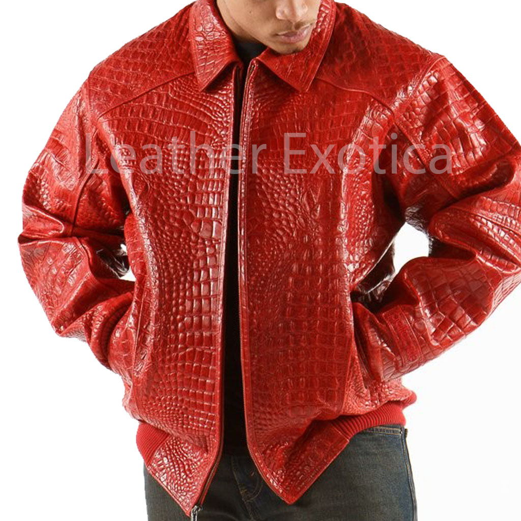 Alligator Print Men Leather Jacket Leatherexotica