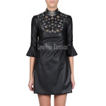 Embroidered Faux Leather Dress