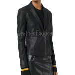 One Button Women Leather Blazer
