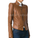 Zipper Leather Blazer For Women