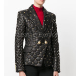 Studs Detail Quilted Leather Women Blazer
