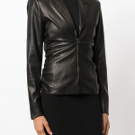 Notch Collar Women Leather Blazer