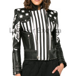 Color Block Women Leather Designer Jacket