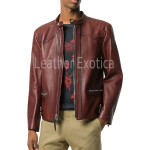 Tab Collar Men Leather Jacket