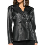 Animal Print Women Double Breasted Leather Blazer