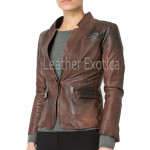 Distress Leather Women Leather Blazer