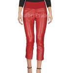 Rib Waist Red Women Leather Pants