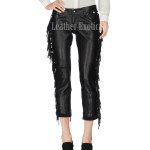 Side Fringe Leather Pants For Women