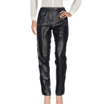 Elastic Band Women Leather Pants