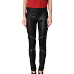 Zip Detailing Skinny Fit Women Leather Pant
