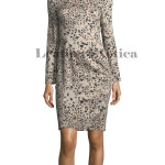 Long Sleeves Animal Print leather Dress