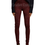 Suede Leather Women Legging