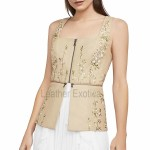 Embroidered Faux Leather Peplum Top