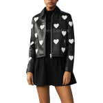 Cropped Leather Jacket With Hearts For Women