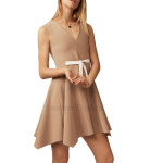 V-Neck Raw Suede Leather Dress