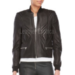 High Collar Women Leather Jacket