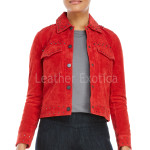 Studded Suede Red Leather Jacket For Women