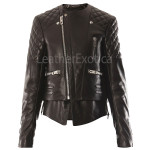 Quilted Biker Women Leather Jacket