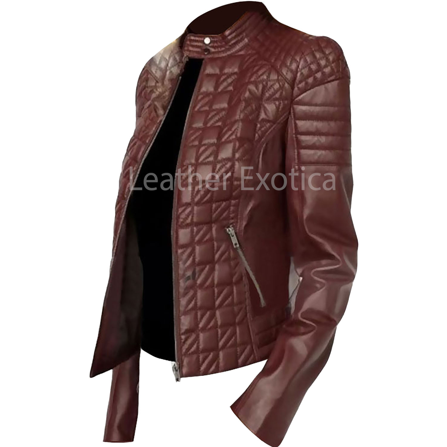 Quilted Style Women Leather Jacket