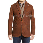 Distressed Style Men Leather Blazer