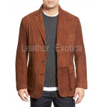Slim Fit Suede Leather Blazer For Men