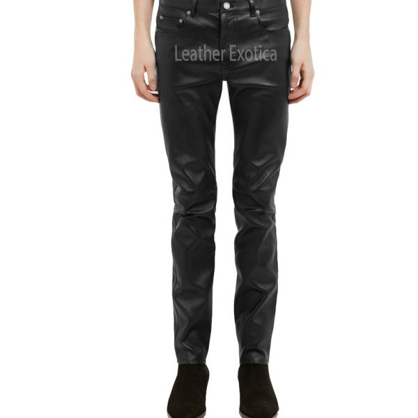 Skinny-Fit Men Leather Trousers