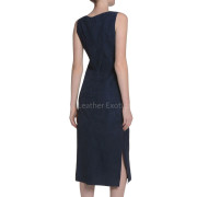 Boat Neckline Women Suede Leather Dress
