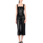 Deep Neckline Women Leather Jumpsuit