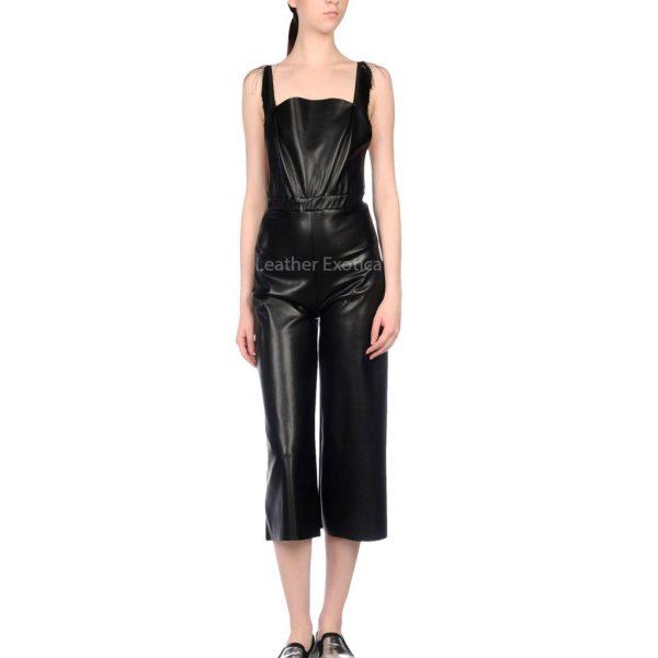 Deep Neckline Women Leather Jumpsuit