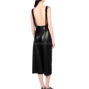 Deep Neckline Women Leather Jumpsuit  back