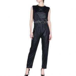 Round Neckline Women Leather Jumpsuit
