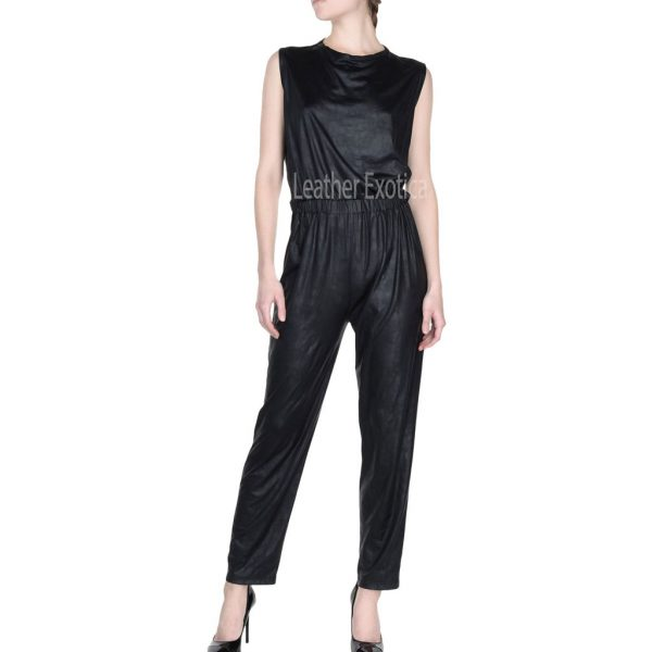 Round Neckline Women Leather Jumpsuit