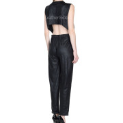 Round Neckline Women Leather Jumpsuit back