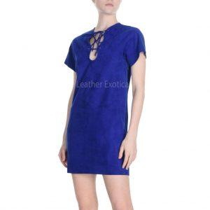 Suede Leather Short Dress For Women