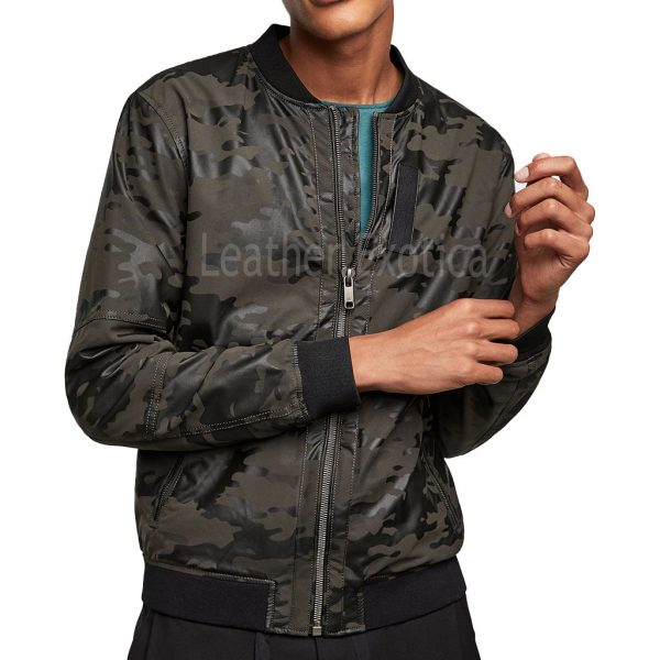 Camouflage Leather Men Bomber Jacket